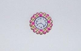 EF039 Uhr rosa/beige aus Holz mit Klebepunkt 2,5cm Durchmesser