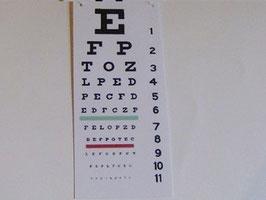 EF002 Wandtafel, Lesetafel Augenarzt klein 3,5x8cm