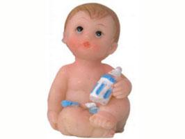 EF011 GK Baby, Puppe aus Kunststein sitzend blau 4 cm