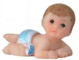EF011 GK Baby, Puppe aus Kunststein krabbelnd blau 4 cm