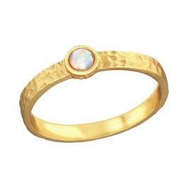 Opalring vergoldet rund