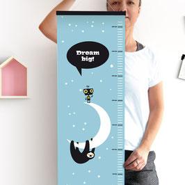 Nope-Monster, Faultier und Roboter – Messlatte aus Papier mit schwarzen Posterleisten