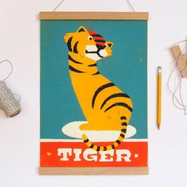 Holzschnitt-Druck mit Tiger