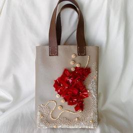 Petit sac2 赤いスクエア花バック 【クロシェ】