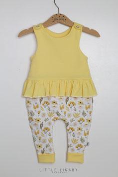 "RUFFLES ROMPER "" 1.Pastelgelb & Yellow Flowers"" Gr.68"