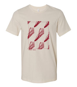 Sleeper Strip Art Screen Print T-Shirt (maroon on cream)