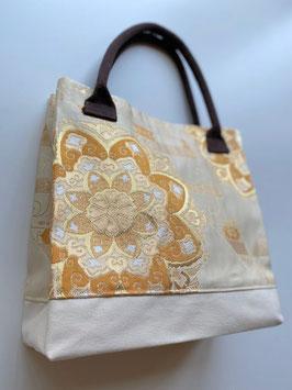 帯バッグ(花柄帯と帆布)