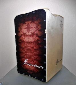 CajonStudio Butterfly String Cajon - Burlwood Style Redbrown Dark Frame