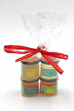 4er - Geschenkset im tranparenten Beutel mit Schleife Honig