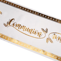 CHEMIN DE TABLE SATIN COMMUNION BLANC 28CMX5MT