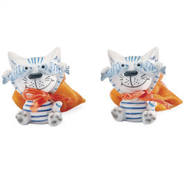 Petite figurine chat Rocky poissons 4H5CM