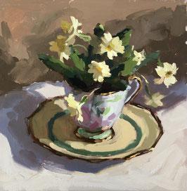Wild primrose in vintage teacup
