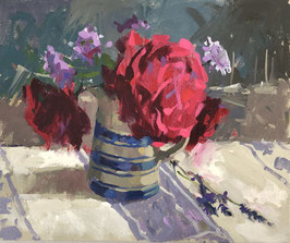 Red roses and marine painting