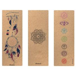 Tapis de yoga rectangulaire liège thème (Attrape-rêves, Mandala, 7 Chakras)