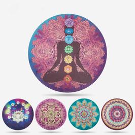 "Tapis rond de méditation thème ""7 Chakras""."