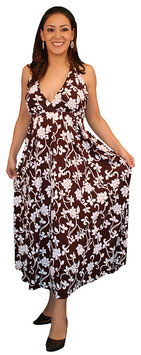 TM Maternity Dress - Brown-White