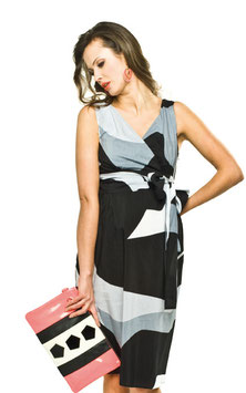 "Torelle Maternity Dress ""Melia""- White/Black/Grey"
