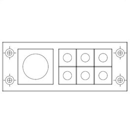 FRAME for adaption of 6 inserts small and 1 insert large