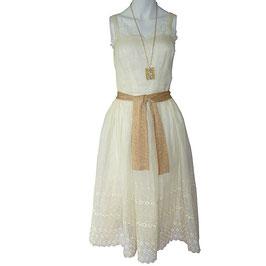Kleid Trägerkleid Organza VINTAGE 1960s crème Spitzenbordüre Gr. S/M