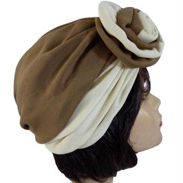 Turban mit Stoffrose, braun-weiss 60s