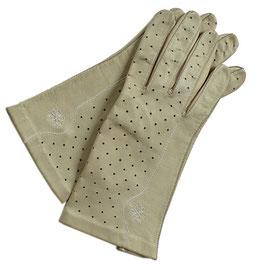 Handschuhe Gr. S Leder hell beige VINTAGE 1960s gelocht ungefüttert