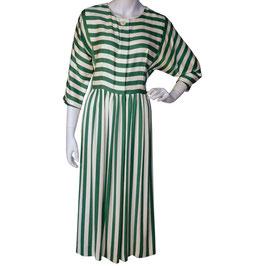 Kleid Gr. M gestreift VINTAGE 1980s ecru-grün Seide