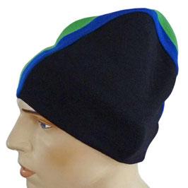 Mütze Skimütze schwarz seitlich gestreift VINTAGE 1980s
