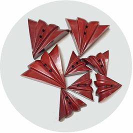 Knöpfe zimtfarben Dreiecke Fächer VINTAGE 1930s