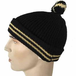 Mütze Skimütze schwarz mit gelben Streifen 1950s