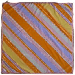 Foulard 85 x 85 cm Seide gross VINTAGE 1970s Diagonalstreifen sign. DAVINCI
