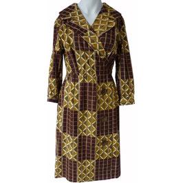Kleid Gr. M Baumwolle VINTAGE 1960s assymm. braun-moutarde
