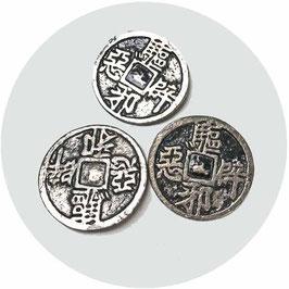 Knöpfe Metall silberfarben China 3 Stk.
