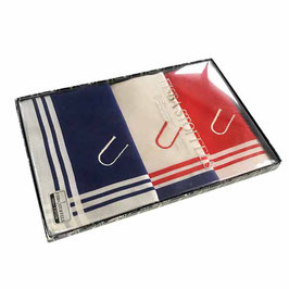 """3 Damen-Taschentücher mit Monogramm """"U"""" rot-blau-weiss Streifen VINTAGE 1980s"""