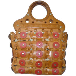 Tasche rustikal mit Lederpatches ca. 70s