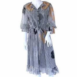 Kleid Gr. S/M lange Ärmel Chiffon transparent schwarz-weiss Streifen grosse Blumen VINTAGE 1970s
