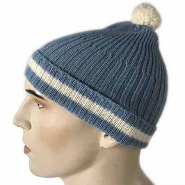 Mütze Skimütze hellblau mit weissem  Streifen und Bommel VINTAGE 1950s