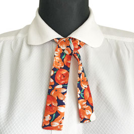 Seidenband klein, kurz Blumenmuster orange