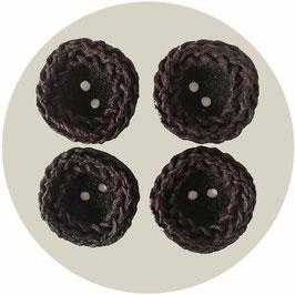 4 grosse Knöpfe braun leicht quadratisch mit Zopfmuster am Rand VINTAGE 1950s