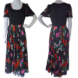 Kleid Gr. S/M Dress lang Seidenchiffon VINTAGE 1990s Couture