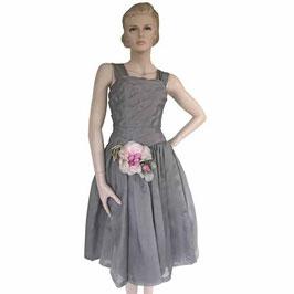 Kleid Organza Gr. S Seide hellgrau mit Seidenrosendeko VINTAGE 1950s