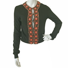 Cardigan Strickjäckli Wolle schwarz mit breiten Borten in Perlenstickerei VINTAGE 1950s Gr. S