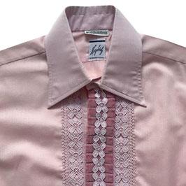 Herrenhemd Gr. M rosa tailliert Spitzeneinsatz VINTAGE 1970s