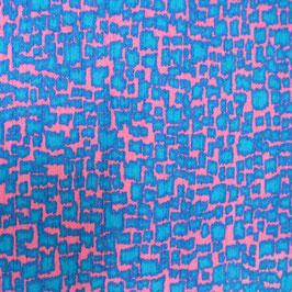 Stoff Baumwolle  60s VINTAGE blau-magenta 2.15m 90 br