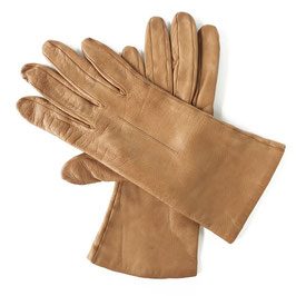 Handschuhe Gr. XS Leder hell camel Seidenfutter VINTAGE 1960s