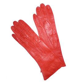 Handschuhe Gr. XS Leder rot Glacéleder VINTAGE 1950s