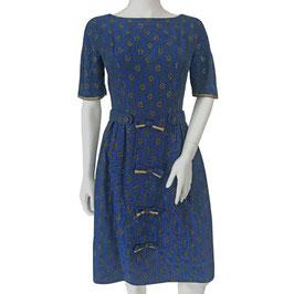 Kleid Gr. S blau-schwarz-gold mit Bateauausschnitt VINTAGE 1950s