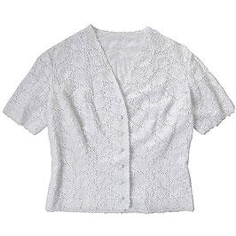 Bluse weiss Spitzenbluse kurze Ärmel ohne Kragen 60s Gr. L