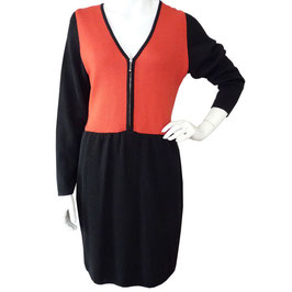 Kleid Gr. M/L Jersey 1980s VINTAGE schwarz-rot