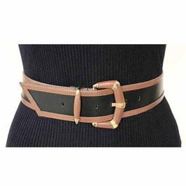 Gürtel Leder Gr. S/M schwarz braun eingefasst VINTAGE 80s 70 cm