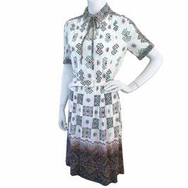 Kleid Gr. S/M Jersey weiss Ethnomuster SORA grafisch Bordüre VINTAGE 1970s
